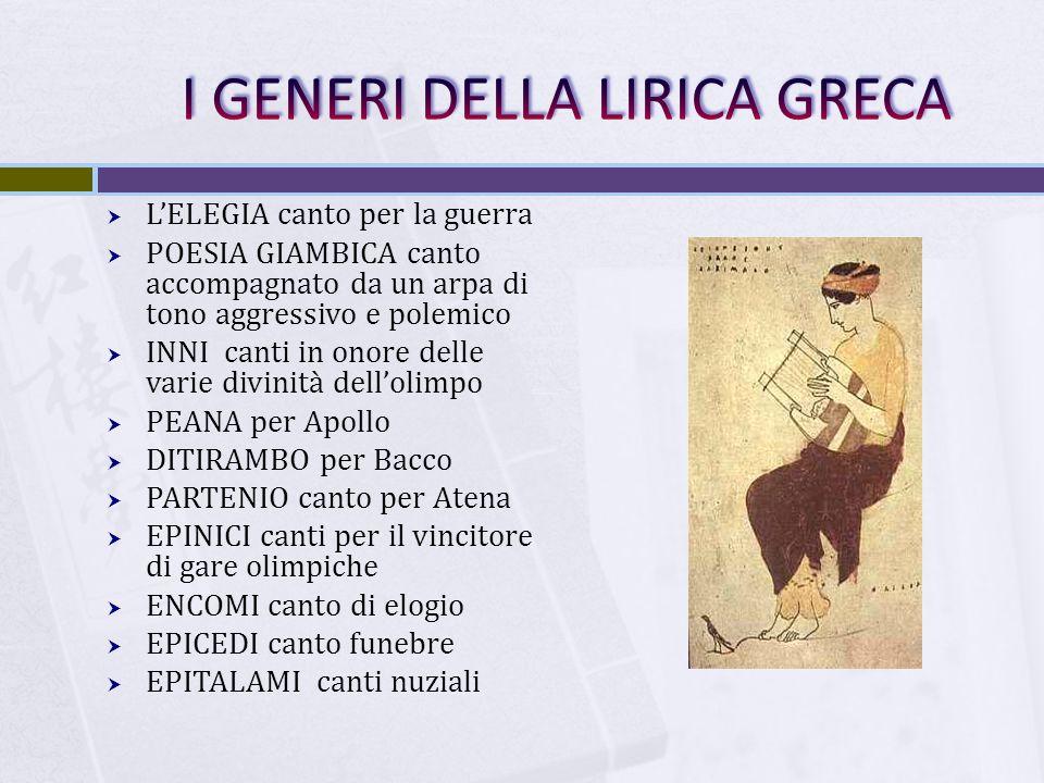  L'ELEGIA canto per la guerra  POESIA GIAMBICA canto accompagnato da un arpa di tono aggressivo e polemico  INNI canti in onore delle varie divinit