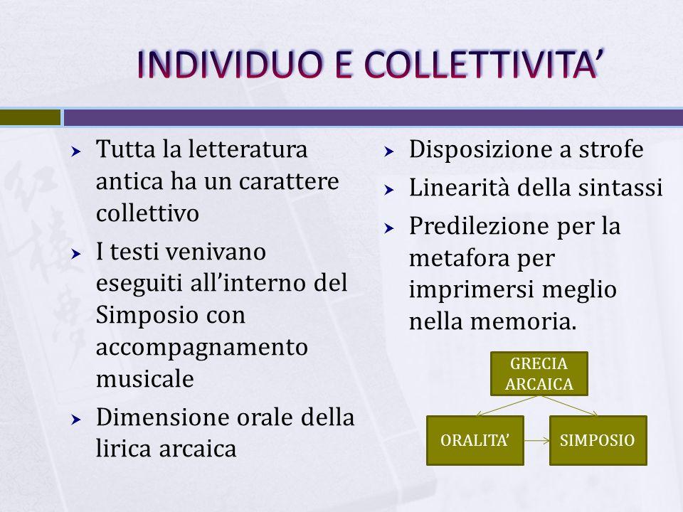  Tutta la letteratura antica ha un carattere collettivo  I testi venivano eseguiti all'interno del Simposio con accompagnamento musicale  Dimension