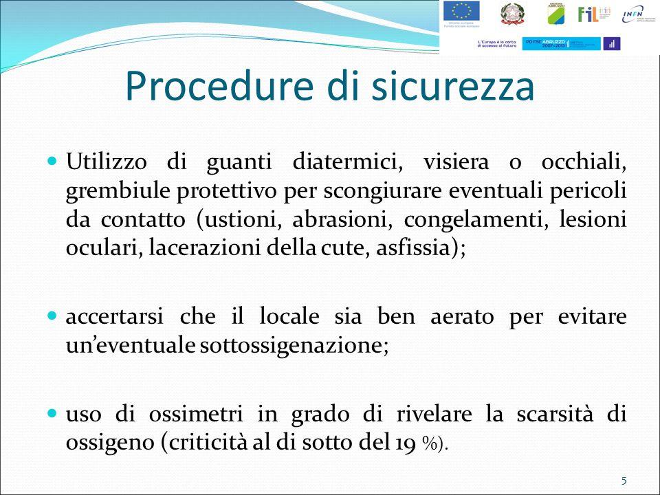 Procedure di sicurezza Utilizzo di guanti diatermici, visiera o occhiali, grembiule protettivo per scongiurare eventuali pericoli da contatto (ustioni