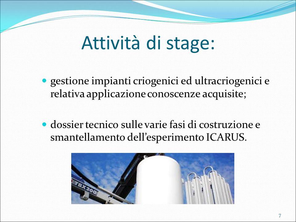 Attività di stage: gestione impianti criogenici ed ultracriogenici e relativa applicazione conoscenze acquisite; dossier tecnico sulle varie fasi di c