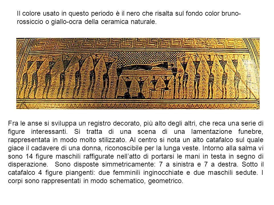 Fra le anse si sviluppa un registro decorato, più alto degli altri, che reca una serie di figure interessanti.