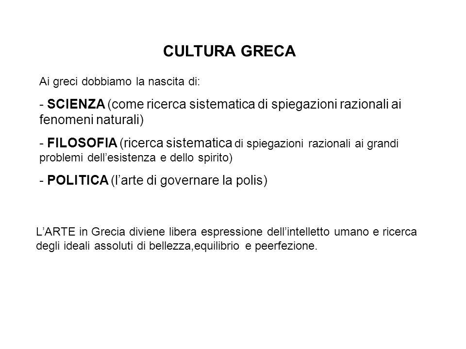 Possiamo suddividere l'arte greca in quattro periodi fondamentali: I periodo: di formazione (o geometrico) II periodo: arcaico (di maturazione) III periodo: classico (di maturazione) IV periodo: ellenistico (di diffusione).