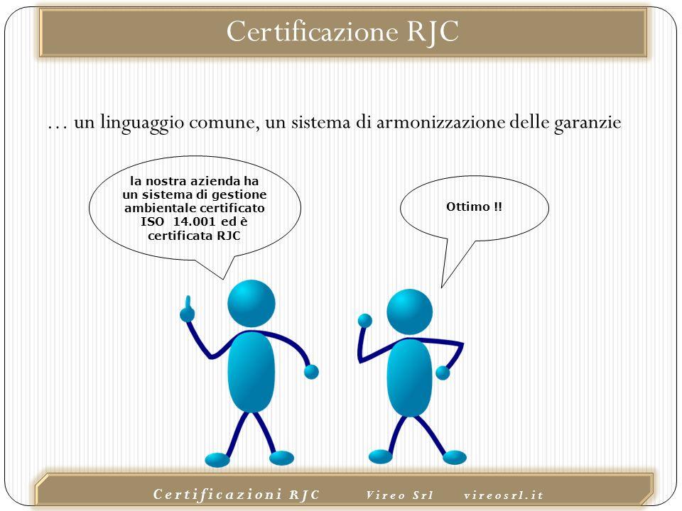 02/10/2015 Certificazioni RJC Vireo Srl vireosrl.it la nostra azienda ha un sistema di gestione ambientale certificato ISO 14.001 ed è certificata RJC Ottimo !.