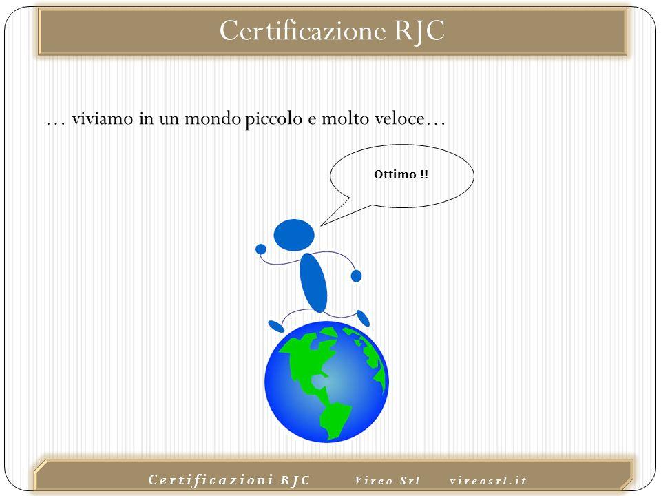 02/10/2015 Certificazioni RJC Vireo Srl vireosrl.it Certificazione RJC … viviamo in un mondo piccolo e molto veloce… Ottimo !!