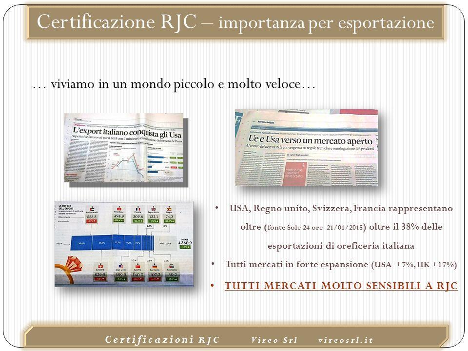 02/10/2015 Certificazioni RJC Vireo Srl vireosrl.it Certificazione RJC – importanza per esportazione USA, Regno unito, Svizzera, Francia rappresentano oltre ( fonte Sole 24 ore 21/01/2015 ) oltre il 38% delle esportazioni di oreficeria italiana Tutti mercati in forte espansione (USA +7%, UK +17%) TUTTI MERCATI MOLTO SENSIBILI A RJC … viviamo in un mondo piccolo e molto veloce…