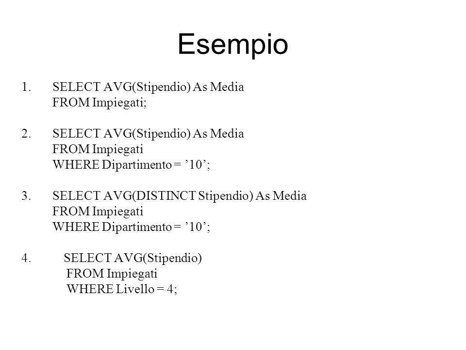 Esempio 1.SELECT AVG(Stipendio) As Media FROM Impiegati; 2.SELECT AVG(Stipendio) As Media FROM Impiegati WHERE Dipartimento = '10'; 3.SELECT AVG(DISTI