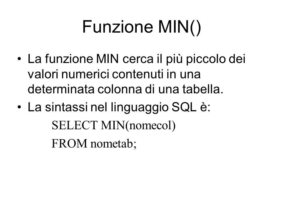 Funzione MIN() La funzione MIN cerca il più piccolo dei valori numerici contenuti in una determinata colonna di una tabella. La sintassi nel linguaggi