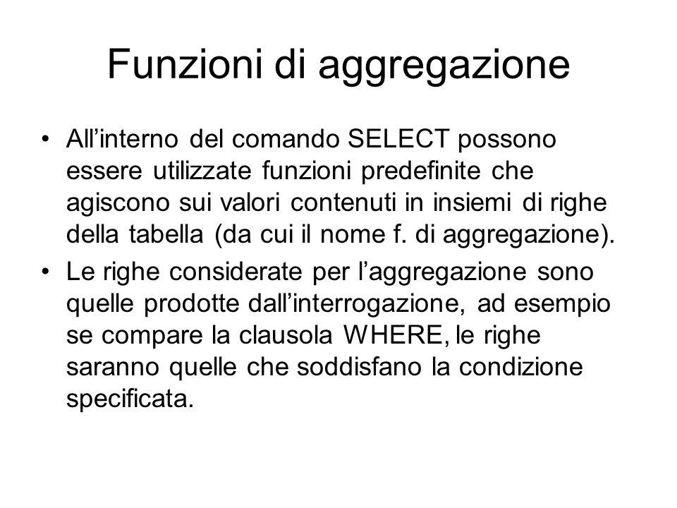 Funzioni di aggregazione All'interno del comando SELECT possono essere utilizzate funzioni predefinite che agiscono sui valori contenuti in insiemi di