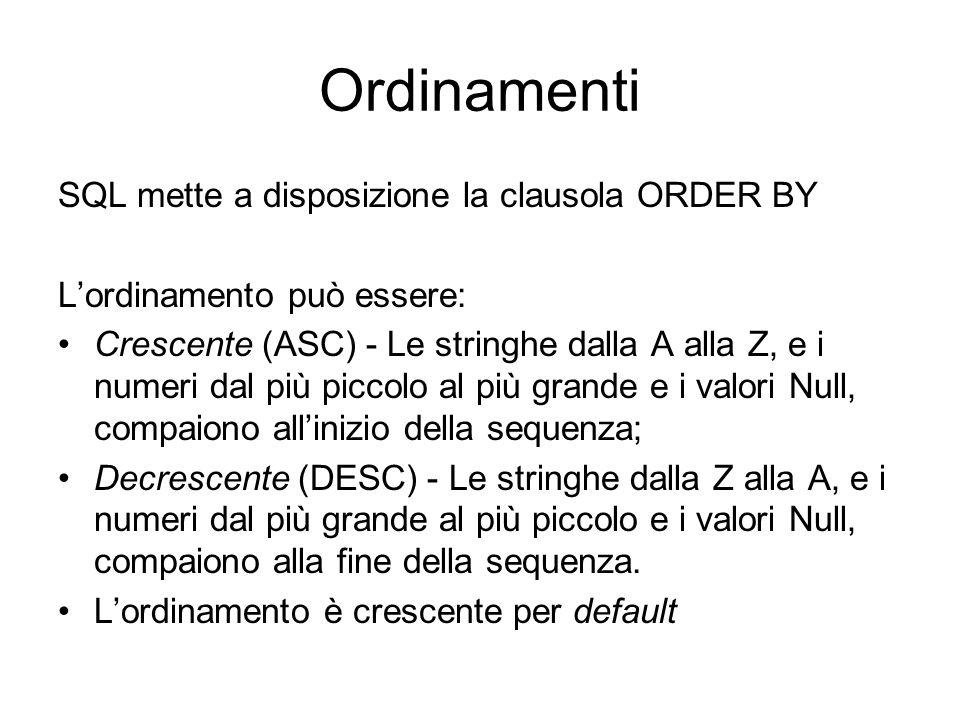 Ordinamenti SQL mette a disposizione la clausola ORDER BY L'ordinamento può essere: Crescente (ASC) - Le stringhe dalla A alla Z, e i numeri dal più p