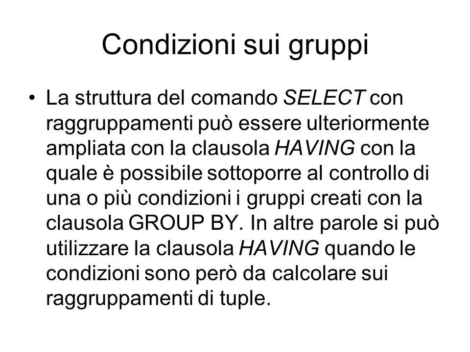 Condizioni sui gruppi La struttura del comando SELECT con raggruppamenti può essere ulteriormente ampliata con la clausola HAVING con la quale è possi