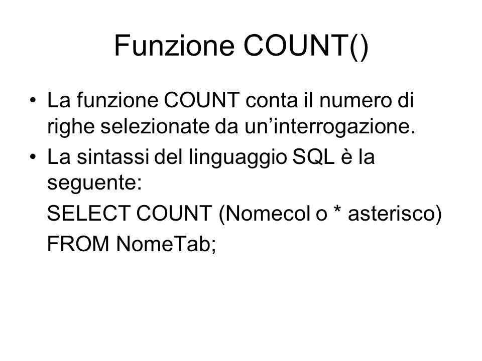 Funzione COUNT() La funzione COUNT conta il numero di righe selezionate da un'interrogazione. La sintassi del linguaggio SQL è la seguente: SELECT COU