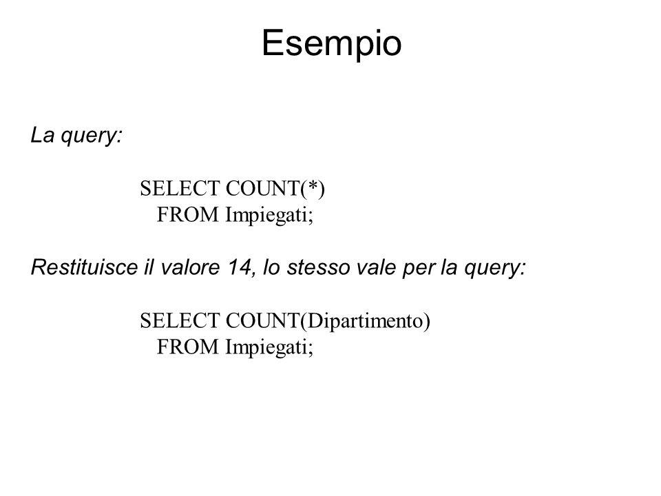 Esempio La query: SELECT COUNT(*) FROM Impiegati; Restituisce il valore 14, lo stesso vale per la query: SELECT COUNT(Dipartimento) FROM Impiegati;