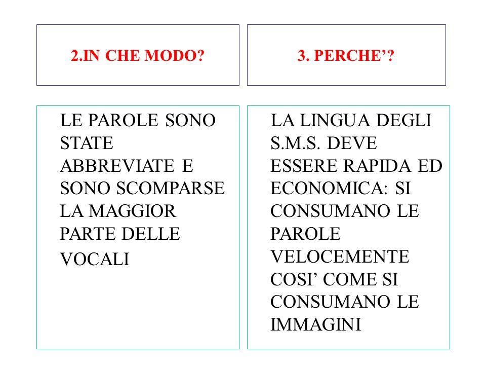 IL LINGUAGGIO DEGLI S.M.S. CHE=KE MESSAGGIO=M.S.G. PIU'=+ MENO=- ALMENO=AL- QUALCUNO/QUALCHE=Q.U.C. BUONANOTTE=B.N.TT. RISPONDI=RISP. 1.CHE COSA CAMBI