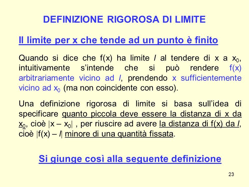 DEFINIZIONE RIGOROSA DI LIMITE Il limite per x che tende ad un punto è finito Quando si dice che f(x) ha limite l al tendere di x a x 0, intuitivament