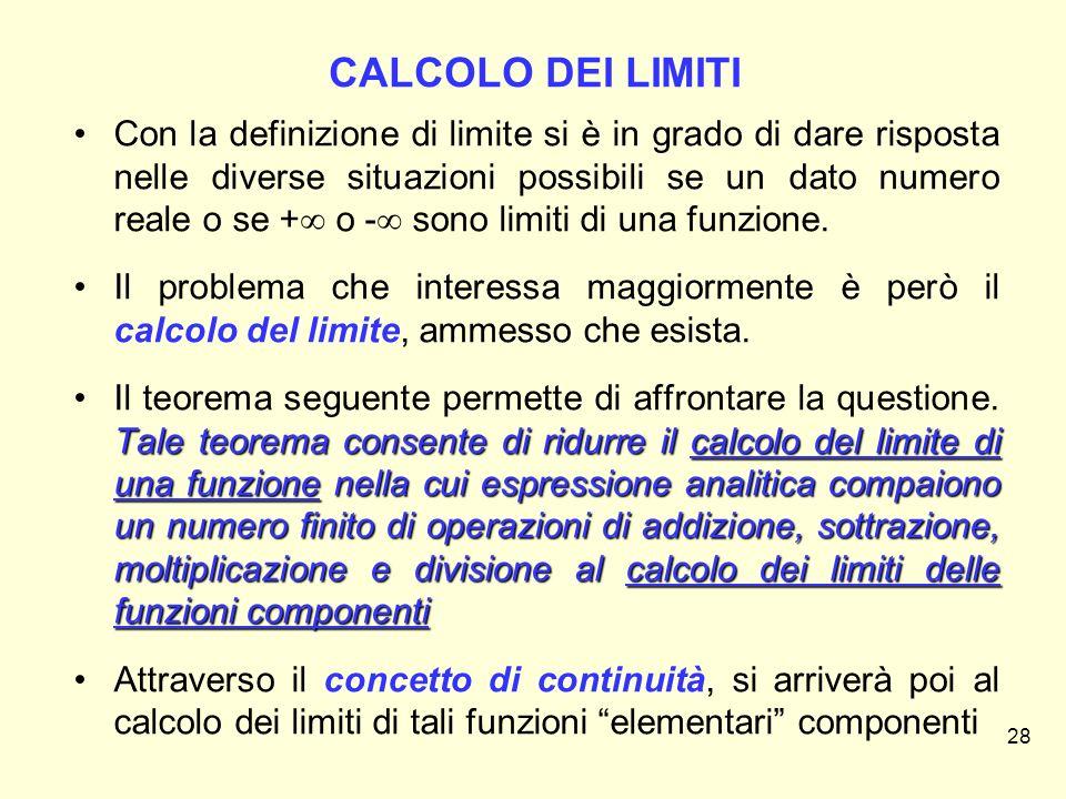CALCOLO DEI LIMITI Con la definizione di limite si è in grado di dare risposta nelle diverse situazioni possibili se un dato numero reale o se +  o -