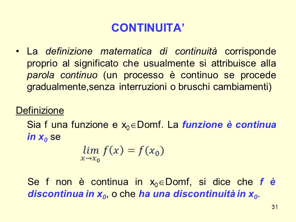 CONTINUITA' La definizione matematica di continuità corrisponde proprio al significato che usualmente si attribuisce alla parola continuo (un processo