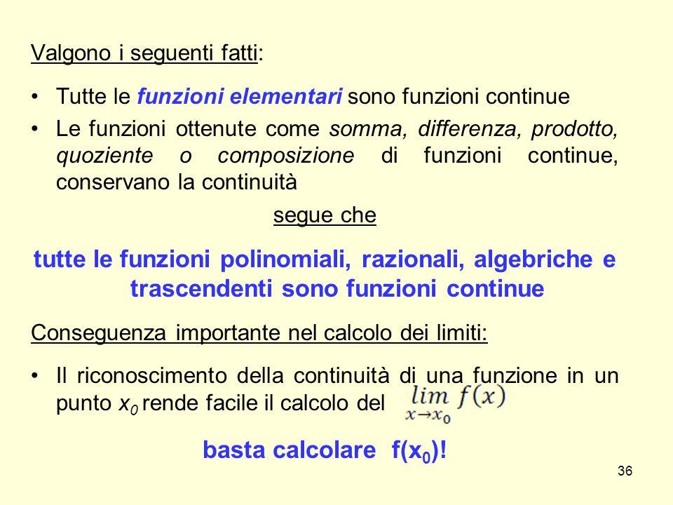 Valgono i seguenti fatti: Tutte le funzioni elementari sono funzioni continue Le funzioni ottenute come somma, differenza, prodotto, quoziente o compo