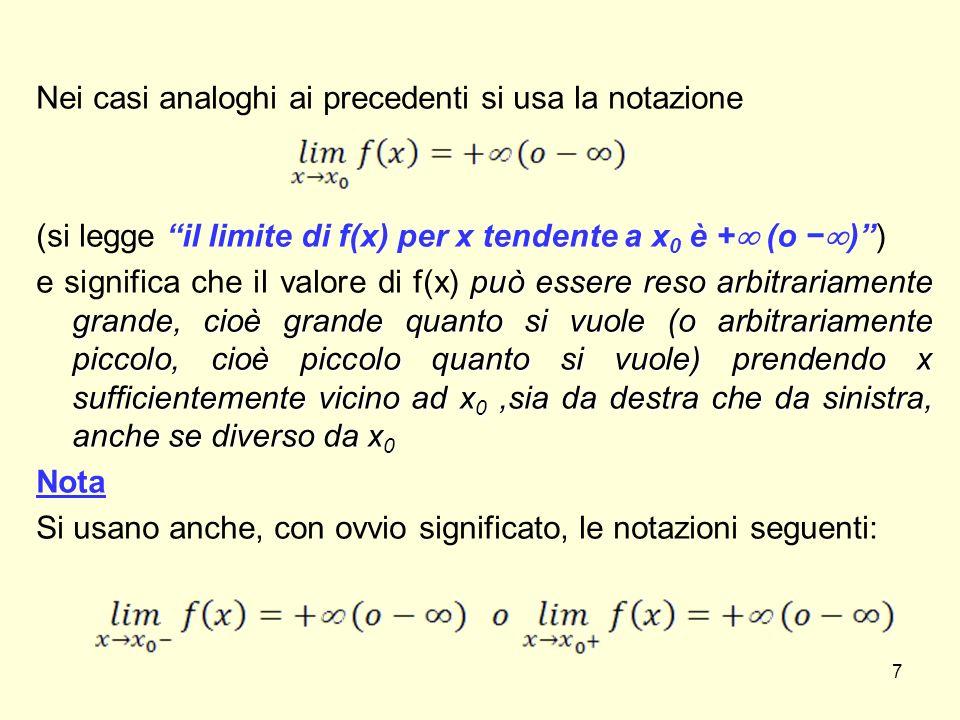 La retta di equazione x = x 0 è detta asintoto verticale per la curva di equazione y = f(x) se vale almeno una delle seguenti affermazioni: 8