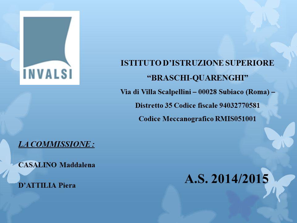LA COMMISSIONE : CASALINO Maddalena D'ATTILIA Piera ISTITUTO D'ISTRUZIONE SUPERIORE BRASCHI-QUARENGHI Via di Villa Scalpellini – 00028 Subiaco (Roma) – Distretto 35 Codice fiscale 94032770581 Codice Meccanografico RMIS051001 A.S.