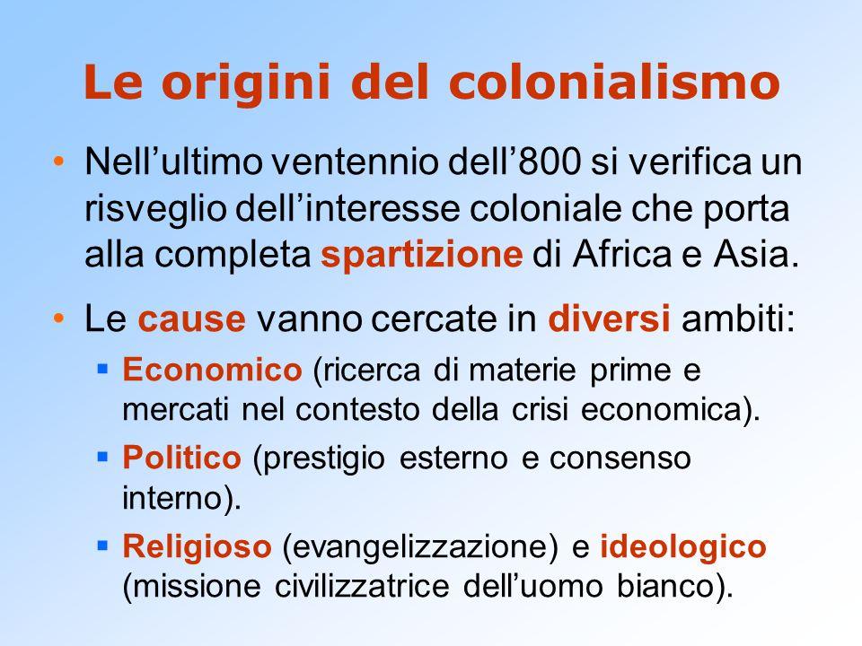 Le origini del colonialismo Nell'ultimo ventennio dell'800 si verifica un risveglio dell'interesse coloniale che porta alla completa spartizione di Af