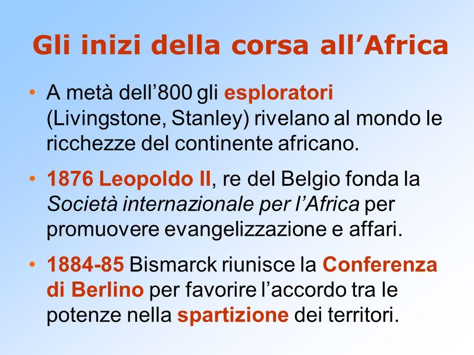 Gli inizi della corsa all'Africa A metà dell'800 gli esploratori (Livingstone, Stanley) rivelano al mondo le ricchezze del continente africano. 1876 L