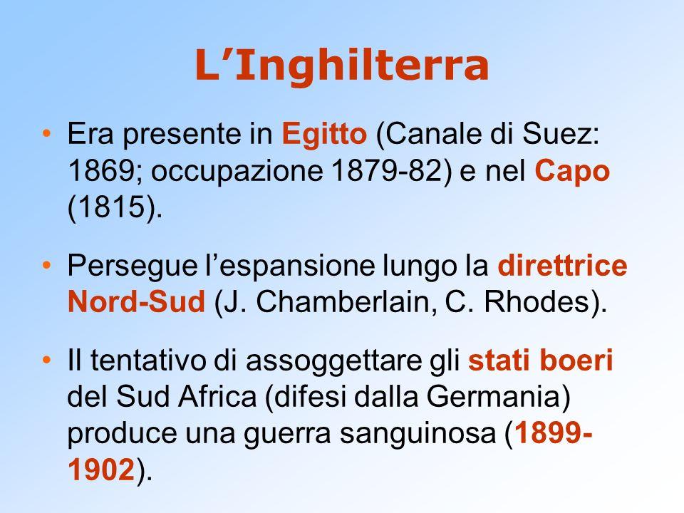 L'Inghilterra Era presente in Egitto (Canale di Suez: 1869; occupazione 1879-82) e nel Capo (1815). Persegue l'espansione lungo la direttrice Nord-Sud