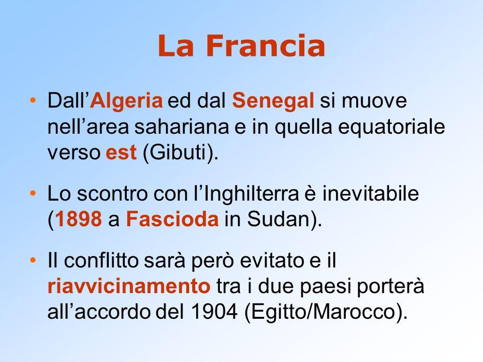 La Francia Dall'Algeria ed dal Senegal si muove nell'area sahariana e in quella equatoriale verso est (Gibuti). Lo scontro con l'Inghilterra è inevita