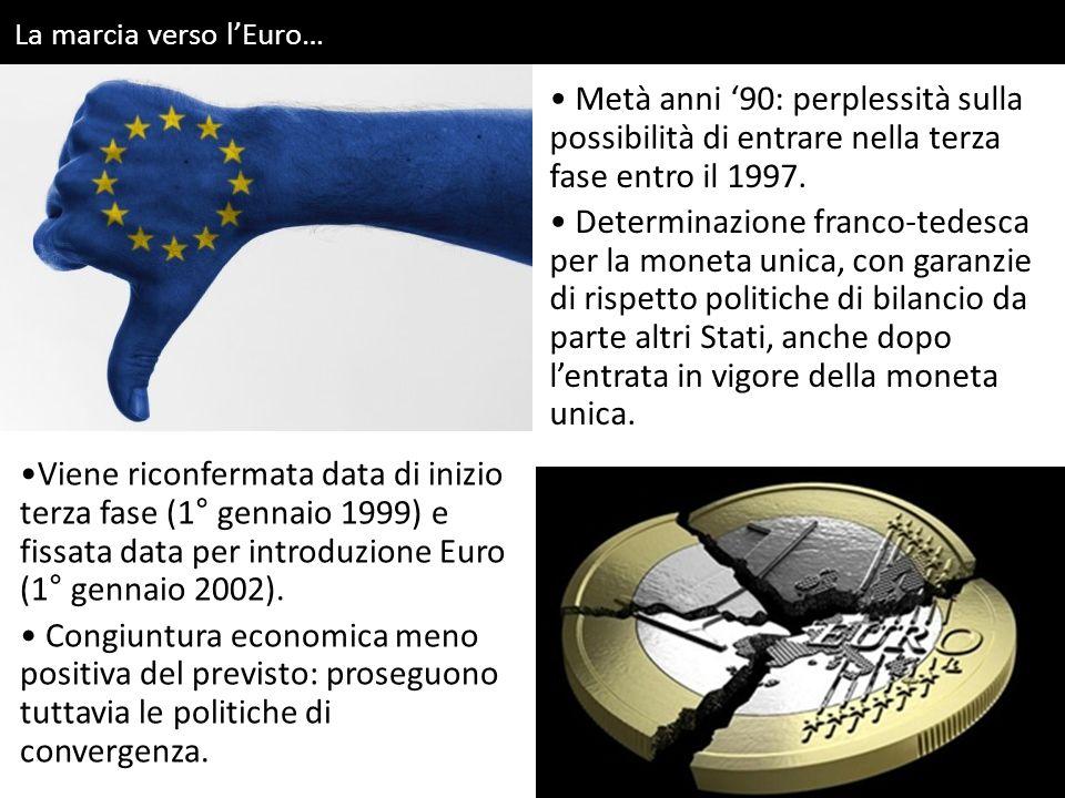 La marcia verso l'Euro… Viene riconfermata data di inizio terza fase (1° gennaio 1999) e fissata data per introduzione Euro (1° gennaio 2002). Congiun