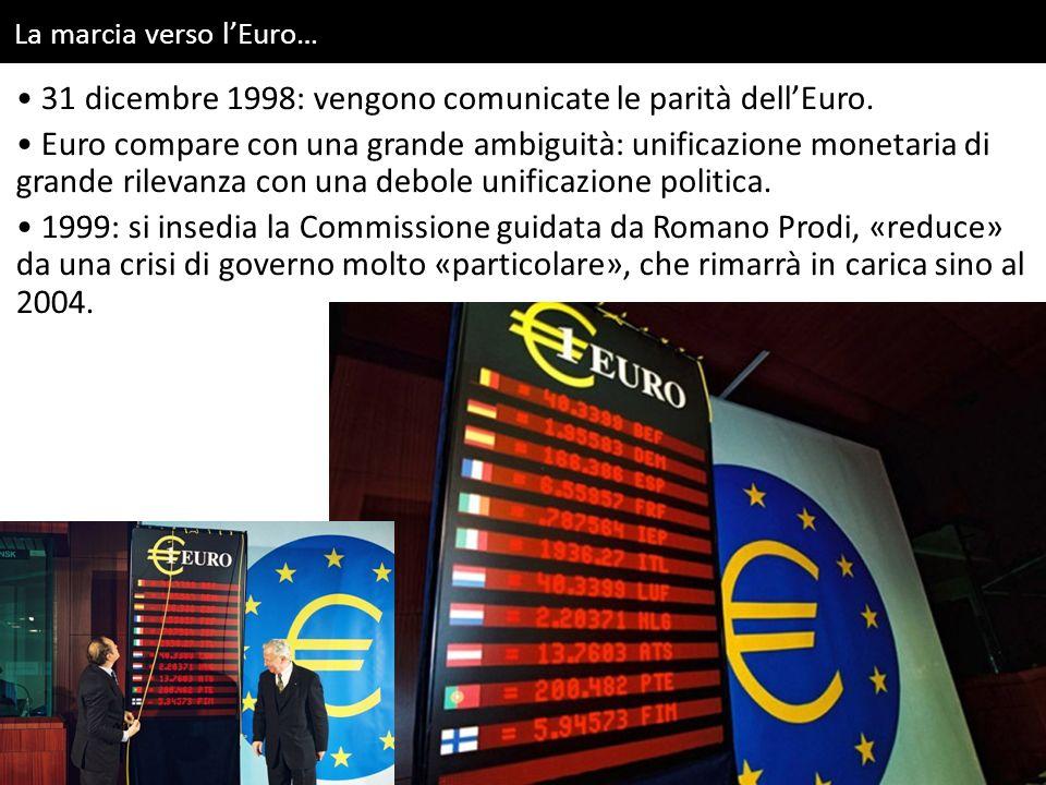 La marcia verso l'Euro… 31 dicembre 1998: vengono comunicate le parità dell'Euro. Euro compare con una grande ambiguità: unificazione monetaria di gra
