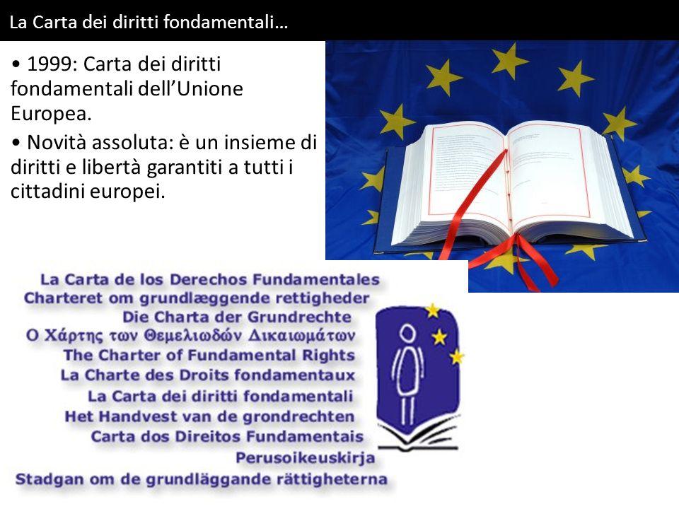 La Carta dei diritti fondamentali… 1999: Carta dei diritti fondamentali dell'Unione Europea. Novità assoluta: è un insieme di diritti e libertà garant