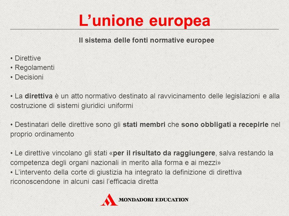 Il sistema delle fonti normative europee Direttive Regolamenti Decisioni La direttiva è un atto normativo destinato al ravvicinamento delle legislazio