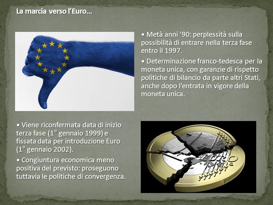 La marcia verso l'Euro… Viene riconfermata data di inizio terza fase (1° gennaio 1999) e fissata data per introduzione Euro (1° gennaio 2002). Viene r