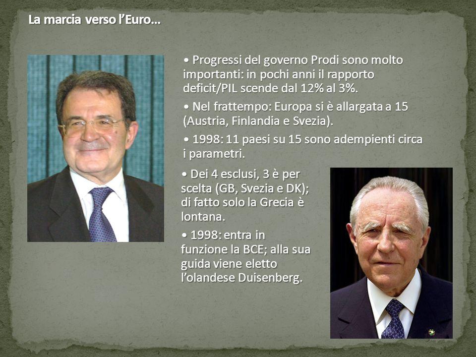 La marcia verso l'Euro… Progressi del governo Prodi sono molto importanti: in pochi anni il rapporto deficit/PIL scende dal 12% al 3%. Progressi del g