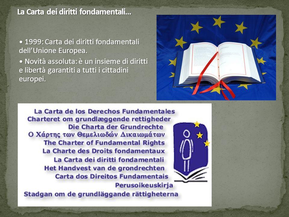 La Carta dei diritti fondamentali… 1999: Carta dei diritti fondamentali dell'Unione Europea. 1999: Carta dei diritti fondamentali dell'Unione Europea.
