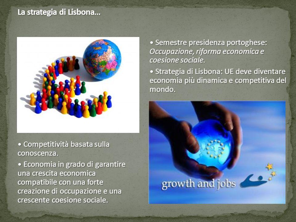 La strategia di Lisbona… Semestre presidenza portoghese: Occupazione, riforma economica e coesione sociale.