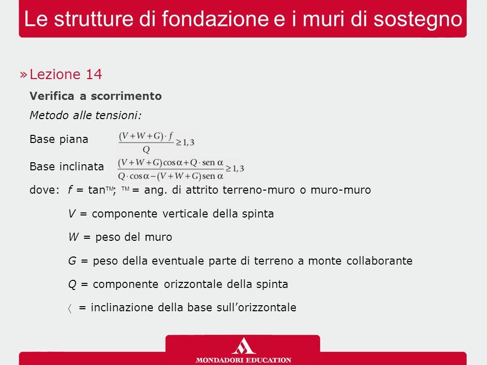 Le strutture di fondazione e i muri di sostegno »Lezione 14 Verifica a scorrimento Metodo agli stati limite: Azioni: Coeff.
