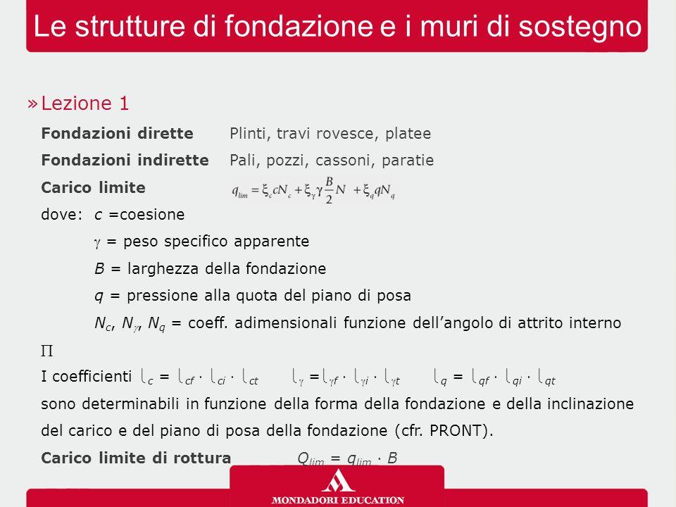 Le strutture di fondazione e i muri di sostegno »Lezione 1 Fondazioni direttePlinti, travi rovesce, platee Fondazioni indirettePali, pozzi, cassoni, p