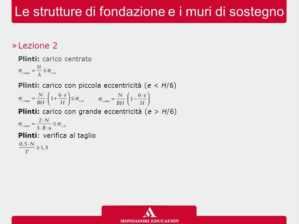 Le strutture di fondazione e i muri di sostegno »Lezione 2 Plinti: carico centrato Plinti: carico con piccola eccentricità (e < H/6) Plinti: carico co