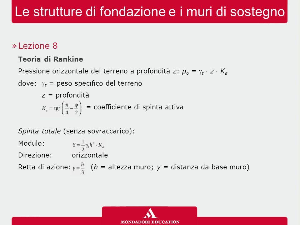 Le strutture di fondazione e i muri di sostegno »Lezione 8 Teoria di Rankine Pressione orizzontale del terreno a profondità z: p o =  t ⋅ z ⋅ K a dov