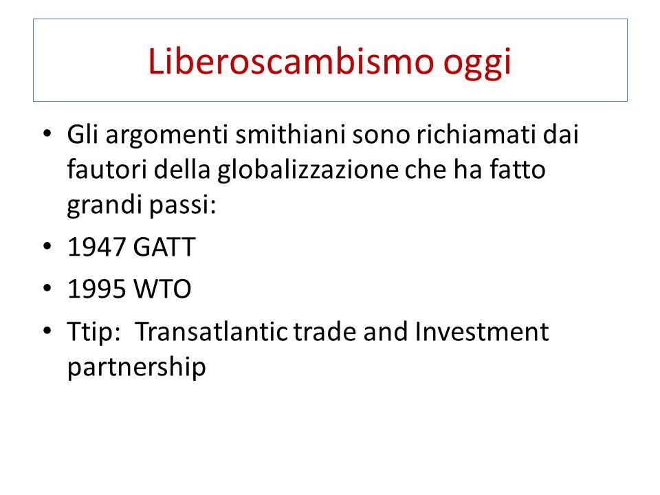 Liberoscambismo oggi Gli argomenti smithiani sono richiamati dai fautori della globalizzazione che ha fatto grandi passi: 1947 GATT 1995 WTO Ttip: Transatlantic trade and Investment partnership