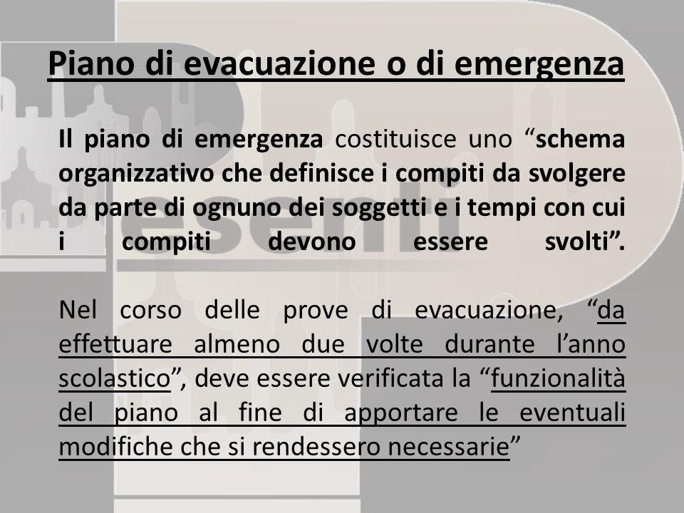 """Il piano di emergenza costituisce uno """"schema organizzativo che definisce i compiti da svolgere da parte di ognuno dei soggetti e i tempi con cui i co"""