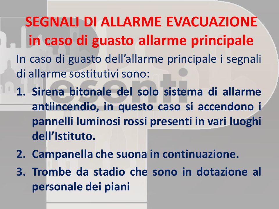 SEGNALI DI ALLARME EVACUAZIONE in caso di guasto allarme principale In caso di guasto dell'allarme principale i segnali di allarme sostitutivi sono: 1