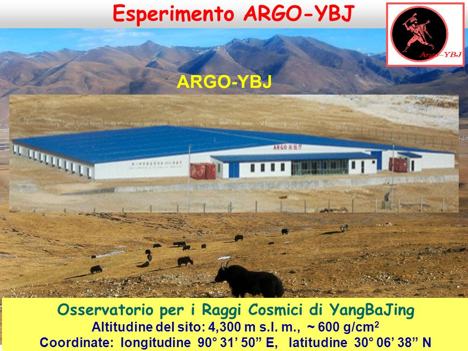 Collaborazione tra:  Istituto Nazionale di Fisica Nucleare (INFN)  Accademia Cinese delle Scienze (CAS) Site: Osservatorio per I Raggi Cosmici di Yangbajing (Tibet), China Osservatorio per i Raggi Cosmici di YangBaJing Altitudine del sito: 4,300 m s.l.