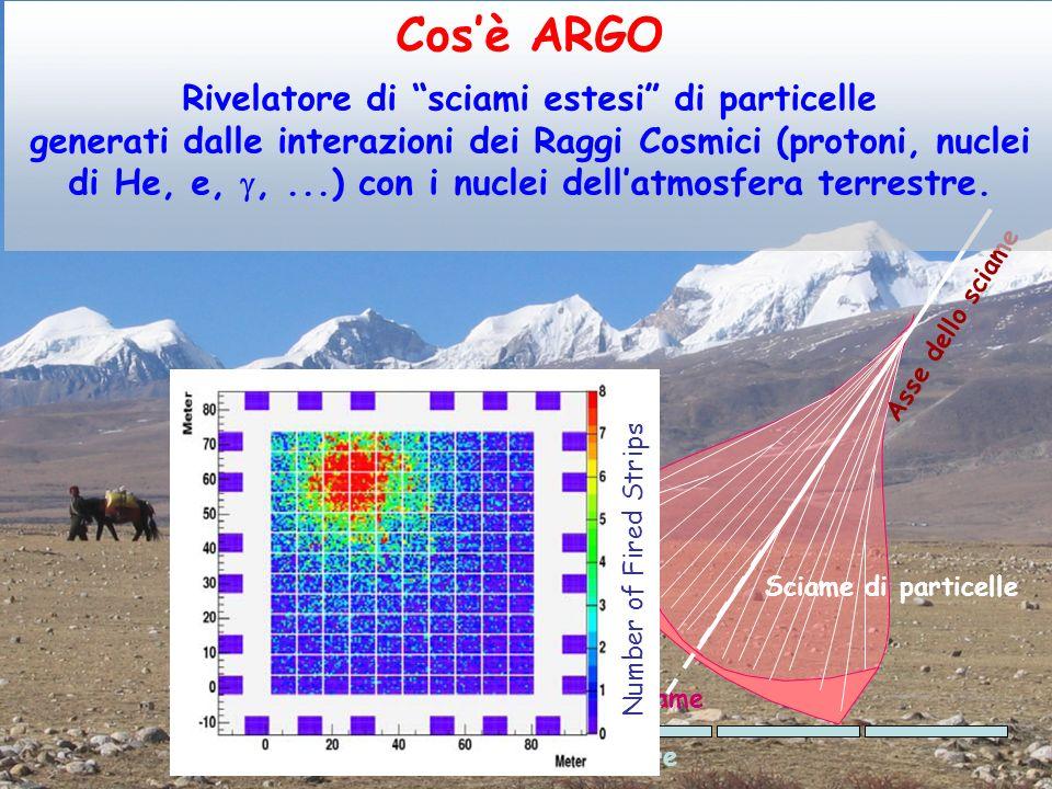 Il rivelatore ARGO Schema del rivelatore Strip = pixel dello spazio Pad = pixel del tempo Risoluzione temporale ~1 ns 10 Pads (56 x 62 cm 2 ) per ogni RPC 8 Strips (6.5 x 62 cm 2 ) per ogni Pad 78 m 111 m 99 m74 m (  43 m 2 ) 1 CLUSTER = 12 RPC RPC