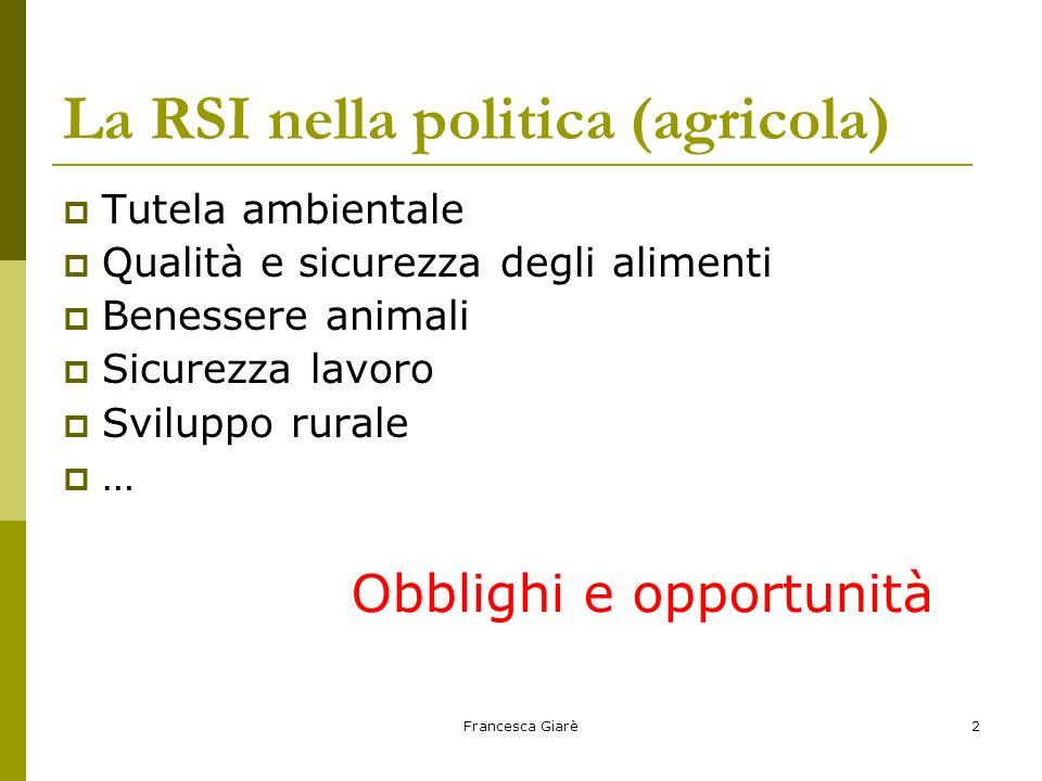 Francesca Giarè2 La RSI nella politica (agricola)  Tutela ambientale  Qualità e sicurezza degli alimenti  Benessere animali  Sicurezza lavoro  Sv