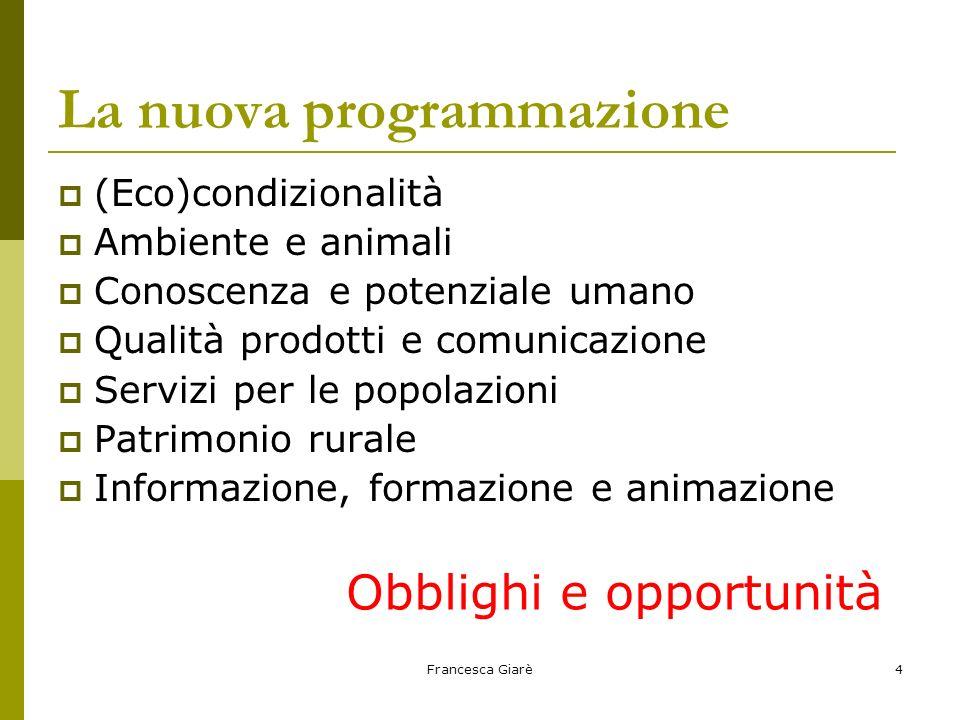 Francesca Giarè4 La nuova programmazione  (Eco)condizionalità  Ambiente e animali  Conoscenza e potenziale umano  Qualità prodotti e comunicazione  Servizi per le popolazioni  Patrimonio rurale  Informazione, formazione e animazione Obblighi e opportunità
