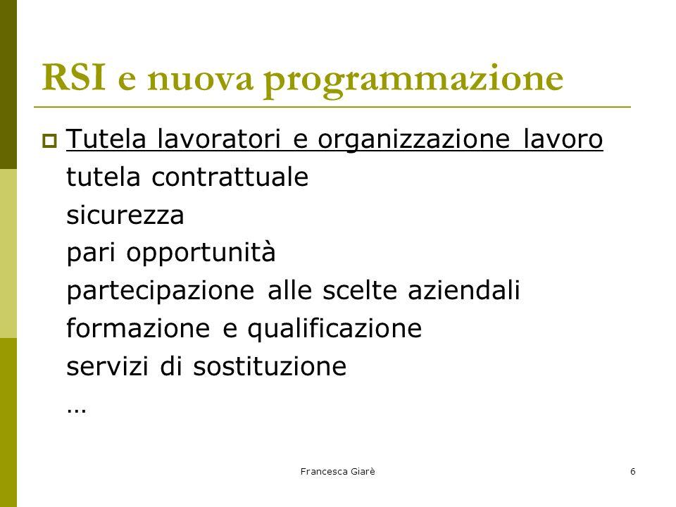 Francesca Giarè6 RSI e nuova programmazione  Tutela lavoratori e organizzazione lavoro tutela contrattuale sicurezza pari opportunità partecipazione