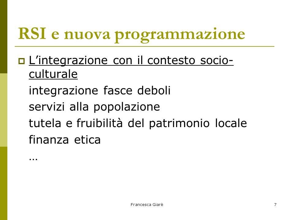 Francesca Giarè7 RSI e nuova programmazione  L'integrazione con il contesto socio- culturale integrazione fasce deboli servizi alla popolazione tutela e fruibilità del patrimonio locale finanza etica …