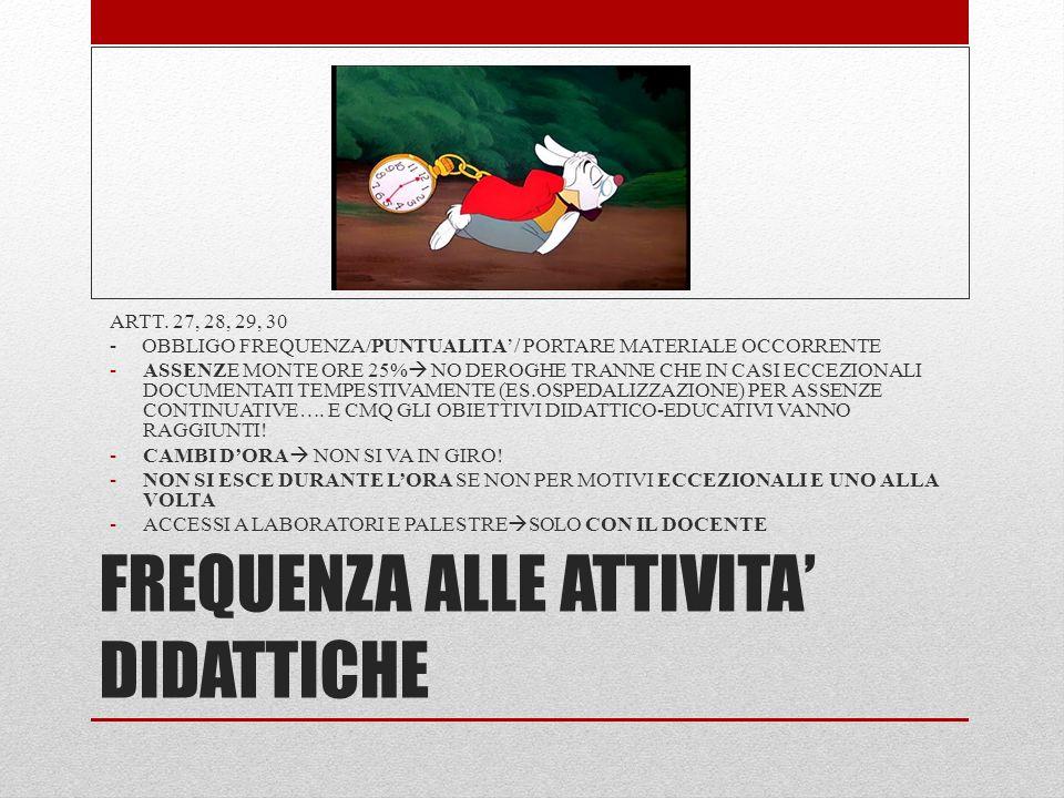 FREQUENZA ALLE ATTIVITA' DIDATTICHE ARTT. 27, 28, 29, 30 - OBBLIGO FREQUENZA/PUNTUALITA'/ PORTARE MATERIALE OCCORRENTE -ASSENZE MONTE ORE 25%  NO DER