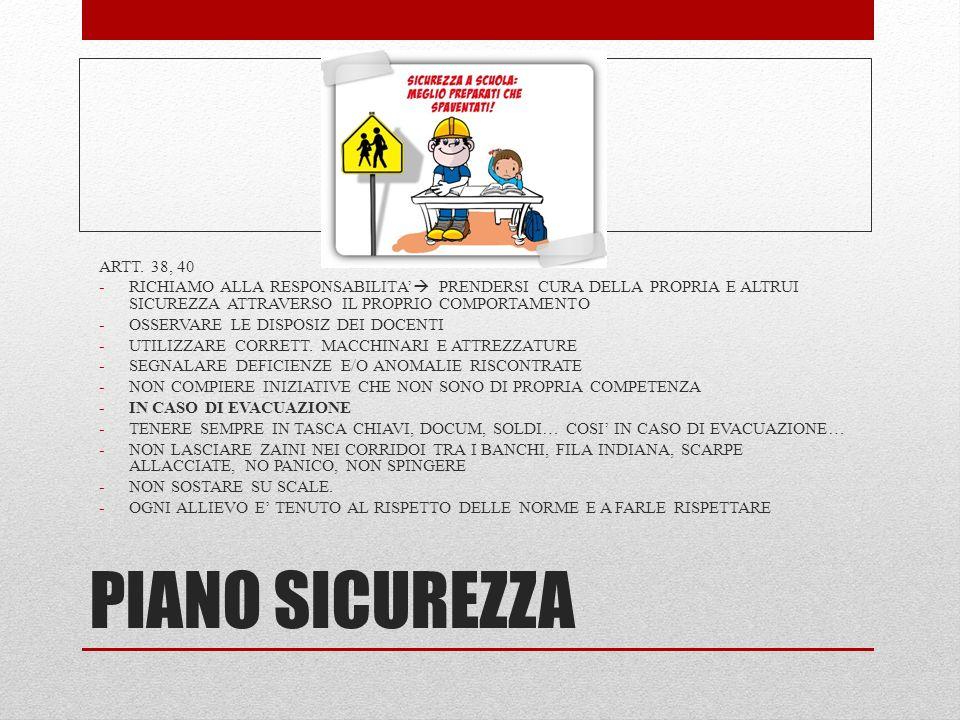 PIANO SICUREZZA ARTT. 38, 40 -RICHIAMO ALLA RESPONSABILITA'  PRENDERSI CURA DELLA PROPRIA E ALTRUI SICUREZZA ATTRAVERSO IL PROPRIO COMPORTAMENTO -OSS